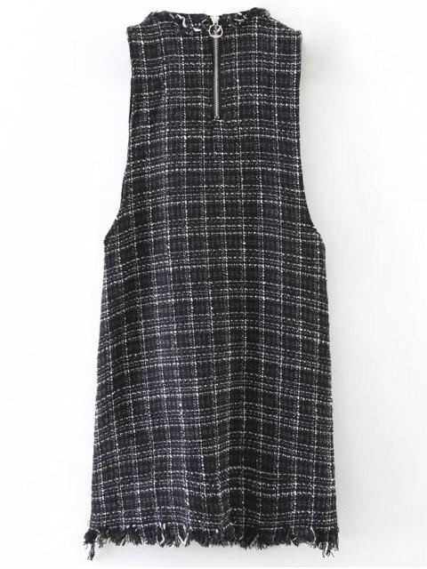 online Rivet Sleeveless Frayed Hem Plaid Mini Dress - BLACK S Mobile