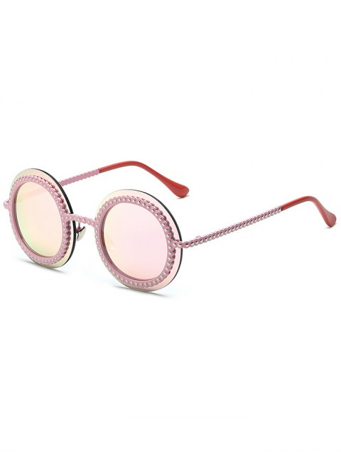 hot Rivet Gear Shape Round Mirrored Sunglasses - PINK  Mobile