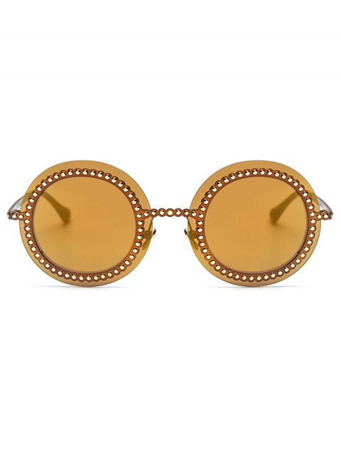 shop Rivet Gear Shape Round Mirrored Sunglasses - GOLDEN  Mobile