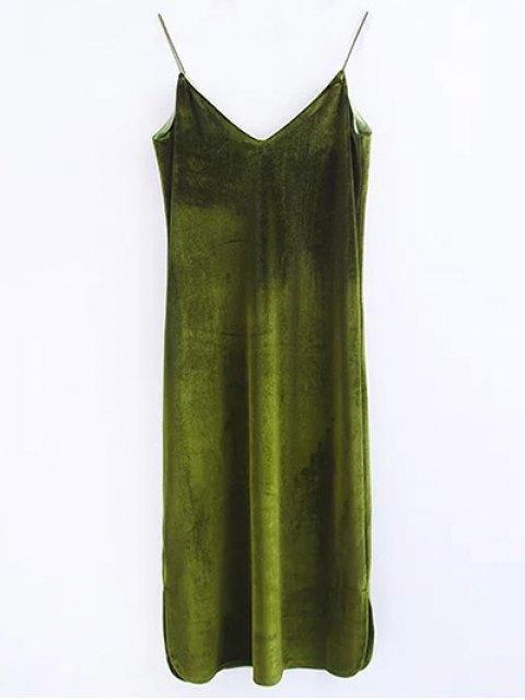 shop Cami Velvet Midi Dress - OLIVE GREEN S Mobile