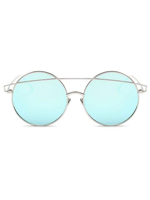 fashion Metallic Crossbar Round Mirrored Sunglasses -   Mobile