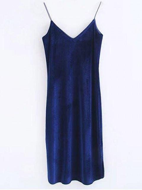ladies Cami Velvet Midi Dress - PURPLISH BLUE S Mobile