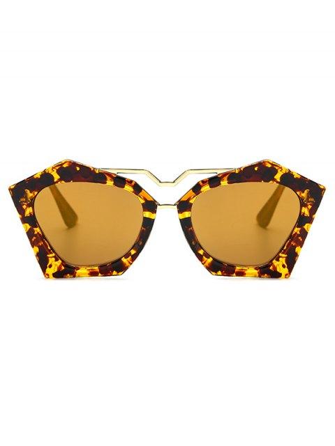 affordable Irregular Mirrored Leopard Sunglasses - GOLDEN  Mobile
