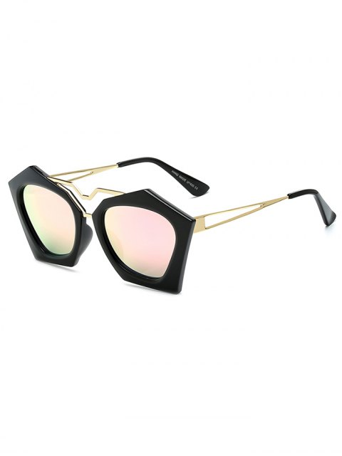 buy Irregular Mirrored Sunglasses - PINK  Mobile