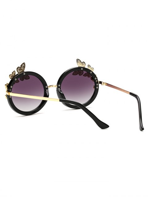 women's Rhinestone Butterfly Oval Sunglasses - BLACK  Mobile