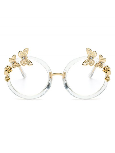 lady Butterfly Transparent Lens Oval Sunglasses - TRANSPARENT  Mobile
