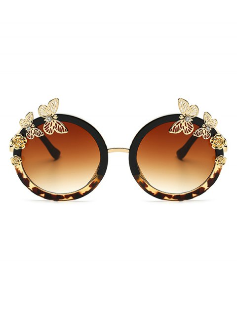 best Butterfly Flecky Panel Oval Sunglasses - BLACK  Mobile