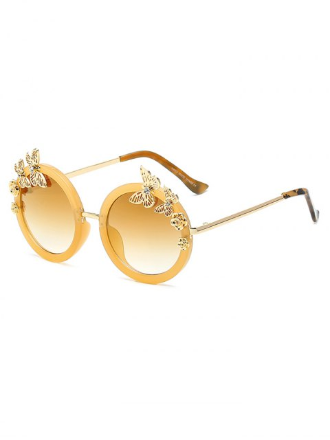 hot Butterfly Oval Mirrored Sunglasses - GOLDEN  Mobile