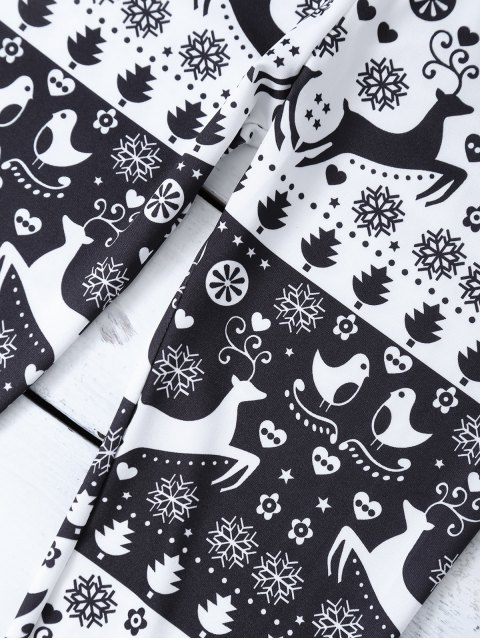 best Christmas Printed Leggings - WHITE AND BLACK M Mobile