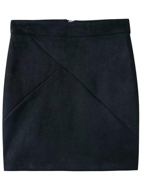 womens Fake Suede Mini Skirt - BLACK M Mobile