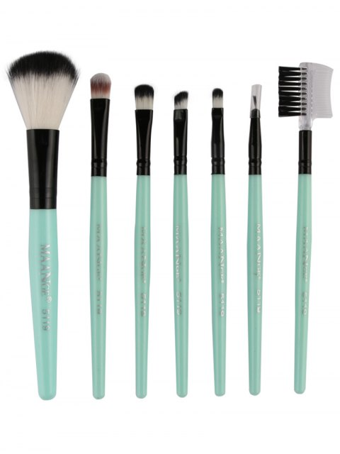 women Fiber Makeup Brushes Set - GREEN  Mobile