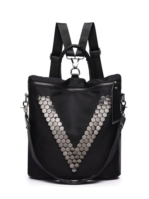 outfit Metal Zipper Nylon Backpack - BLACK  Mobile
