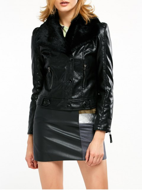 women's Biker Jacket in Faux Shearling - BLACK XL Mobile