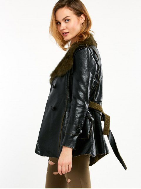 outfit Faux Fur Collar Faux Leather Coat - BLACK AND GREEN XL Mobile