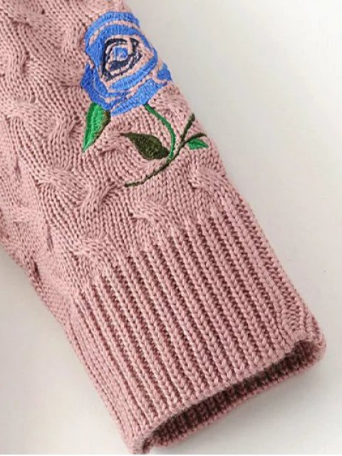 ladies Cable Knit Floral Embroidered Jumper - BLACK S Mobile