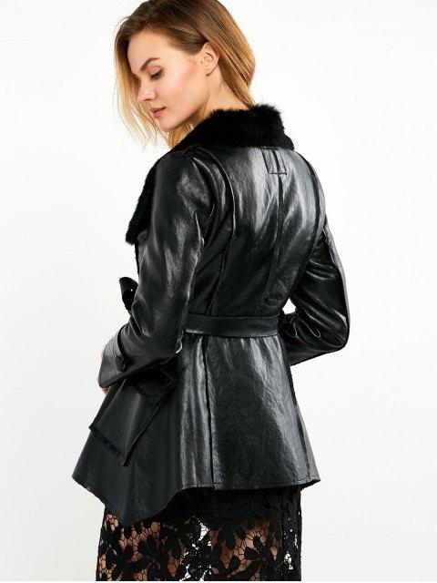 trendy Faux Fur Collar Faux Leather Coat - BLACK M Mobile