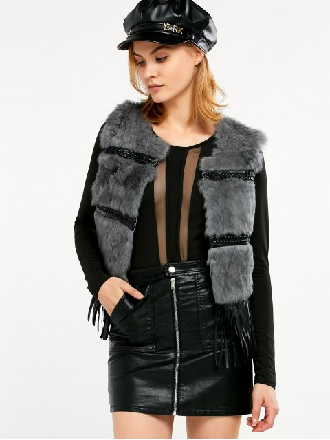 new Fringe Rabbit Hair Waistcoat - GRAY ONE SIZE Mobile