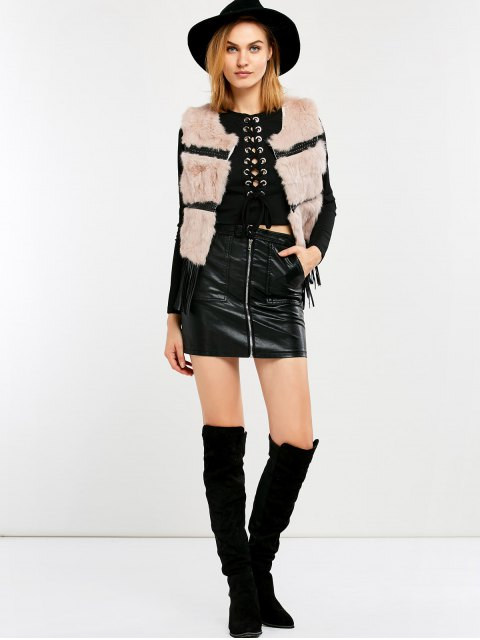 outfit Fringe Rabbit Hair Waistcoat - PINK ONE SIZE Mobile