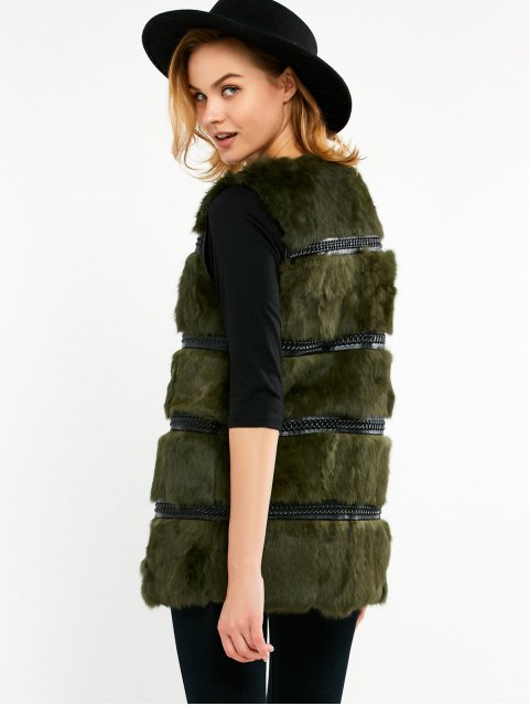 outfits Rabbit Hair Waistcoat - ARMY GREEN ONE SIZE Mobile