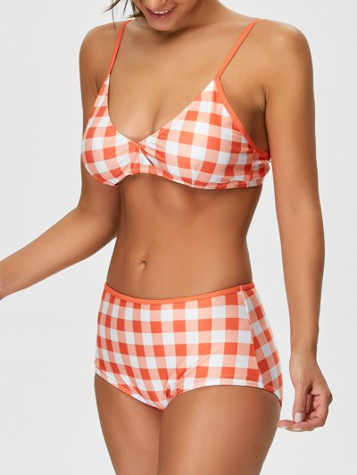 High Rise Checked Bikini - JACINTH L Mobile