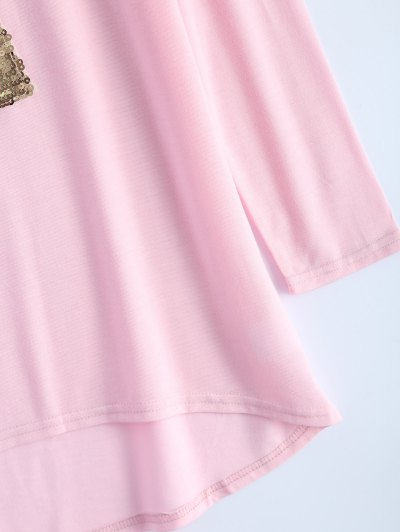 Sequined Asymmetric T-Shirt - PINK L Mobile