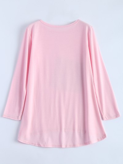 Sequined Asymmetric T-Shirt - PINK M Mobile