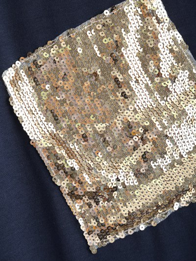 Sequined Asymmetric T-Shirt - PURPLISH BLUE XL Mobile