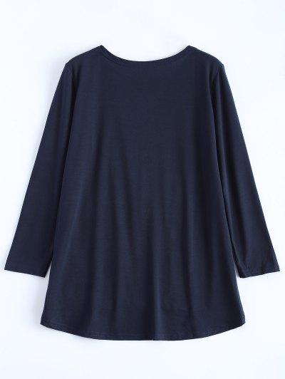 Sequined Asymmetric T-Shirt - PURPLISH BLUE L Mobile