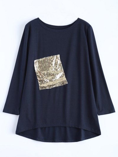 Sequined Asymmetric T-Shirt - PURPLISH BLUE S Mobile