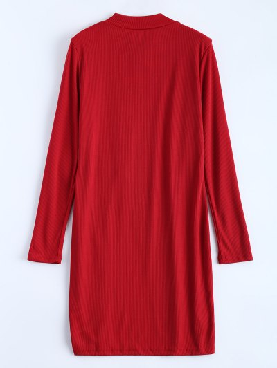 High Neck High Slit T-Shirt - RED L Mobile