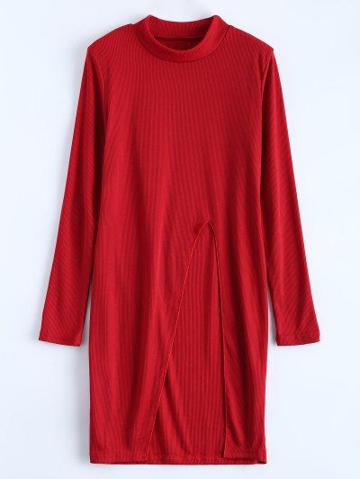 High Neck High Slit T-Shirt - RED S Mobile
