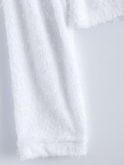 High Neck Fuzzy Cropped T-Shirt - WHITE S Mobile