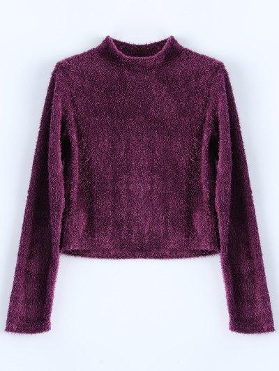 High Neck Fuzzy Cropped T-Shirt - PURPLISH RED XL Mobile