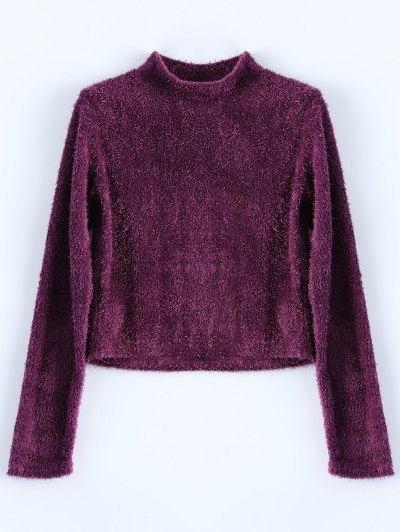 High Neck Fuzzy Cropped T-Shirt - PURPLISH RED M Mobile