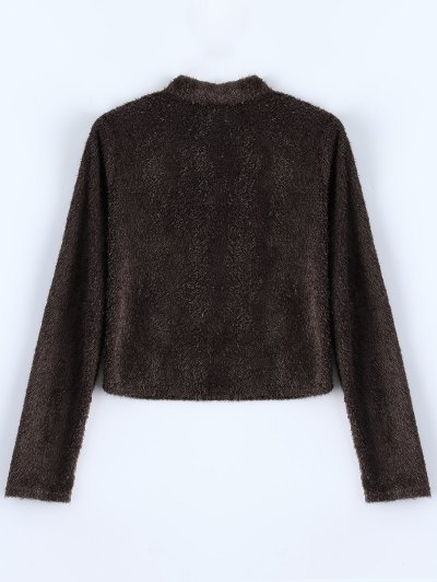 High Neck Fuzzy Cropped T-Shirt - COFFEE XL Mobile
