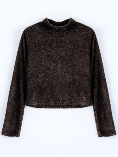 High Neck Fuzzy Cropped T-Shirt - COFFEE M Mobile