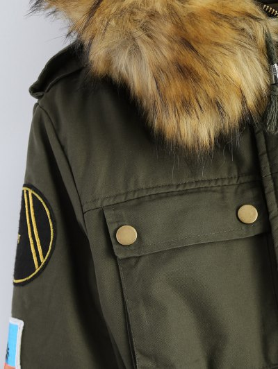 Patch Hooded Parka Coat - ARMY GREEN 2XL Mobile