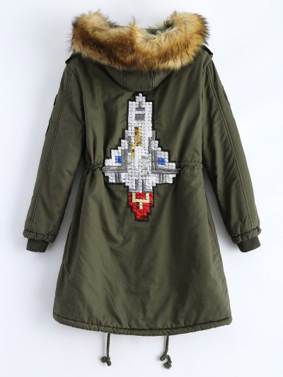 Patch Hooded Parka Coat - ARMY GREEN M Mobile