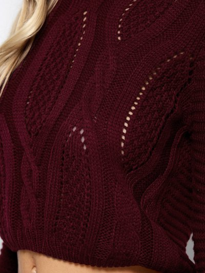 Open Cable Knit Crop Sweater - BURGUNDY ONE SIZE Mobile