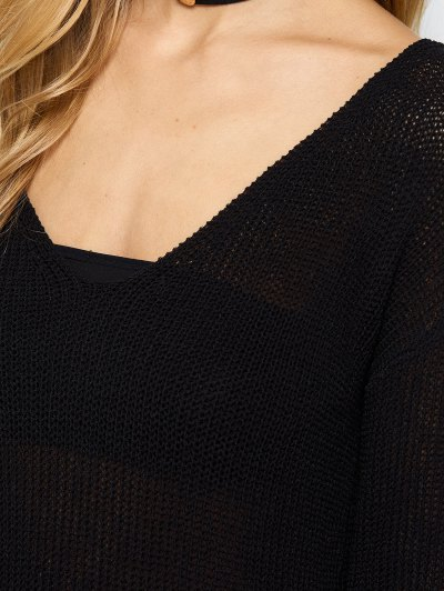V Neck Open Stitch Sweater - BLACK ONE SIZE Mobile