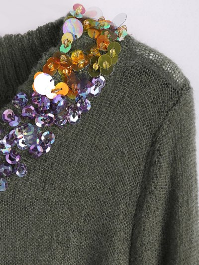 V Neck Sequins Sweater - ARMY GREEN ONE SIZE Mobile
