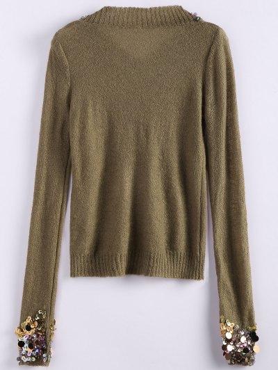 V Neck Sequins Sweater - CAMEL ONE SIZE Mobile