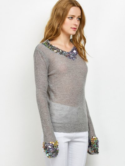 V Neck Sequins Sweater - GRAY ONE SIZE Mobile