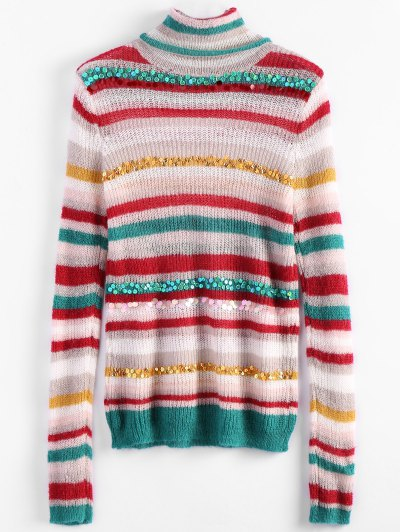 Sequins Striped Turtleneck Sweater - WHITE ONE SIZE Mobile