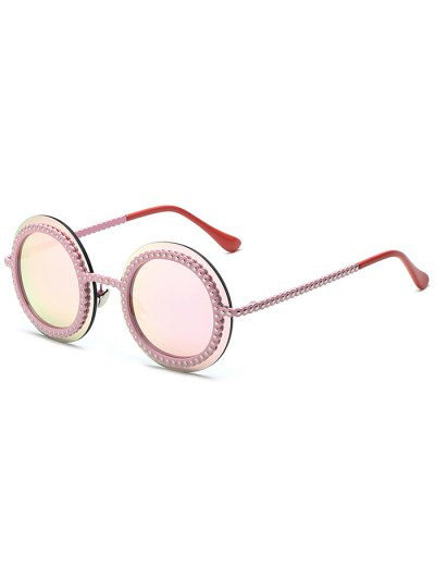Rivet Gear Shape Round Mirrored Sunglasses - PINK  Mobile