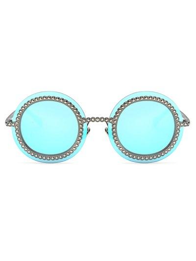 Rivet Gear Shape Round Mirrored Sunglasses - ICE BLUE  Mobile