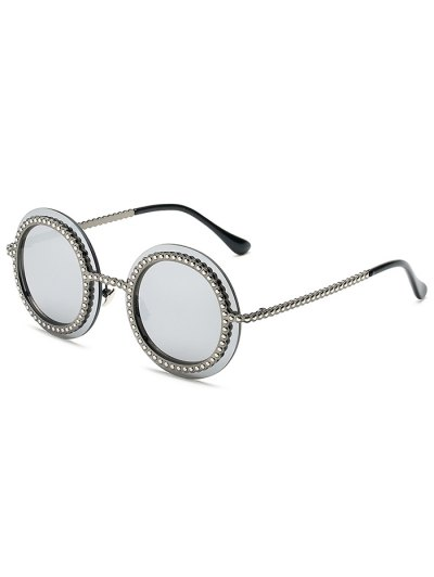Rivet Gear Shape Round Mirrored Sunglasses - SILVER  Mobile