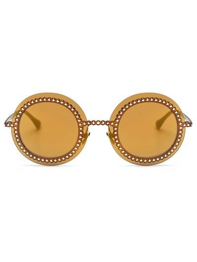 Rivet Gear Shape Round Mirrored Sunglasses - GOLDEN  Mobile