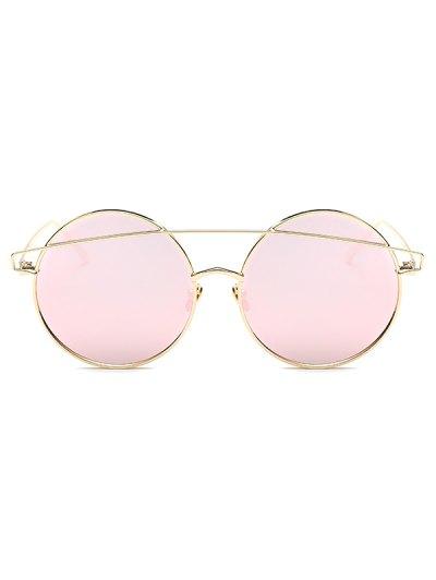 Metallic Crossbar Round Mirrored Sunglasses - PINK  Mobile