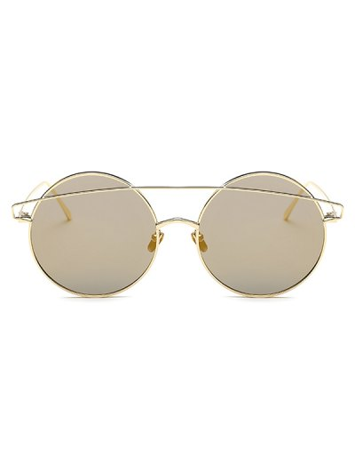 Metallic Crossbar Round Mirrored Sunglasses - GOLDEN  Mobile